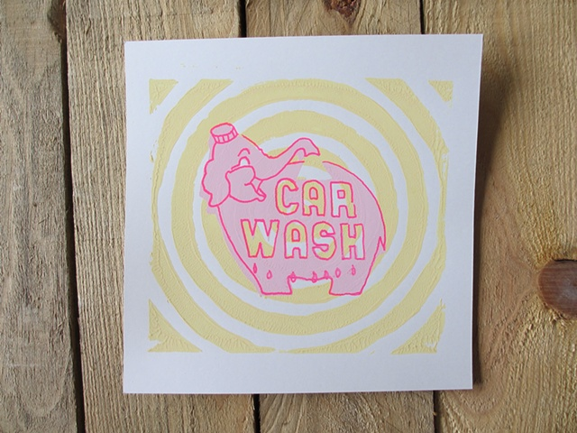Pink Elephant sign, yellow circles screen print
