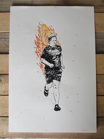 Man Running while on fire