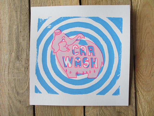 Pink Elephant sign, blue circles, screen print