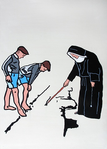 A nun showing the boys where it's at. crack
