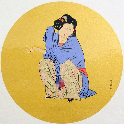 "Gloden girl, 13.5 x 13.5"", Acrylic on golden leaf, 2010"