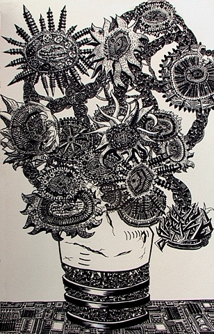 Sunflower, Pen on Paper, 2003