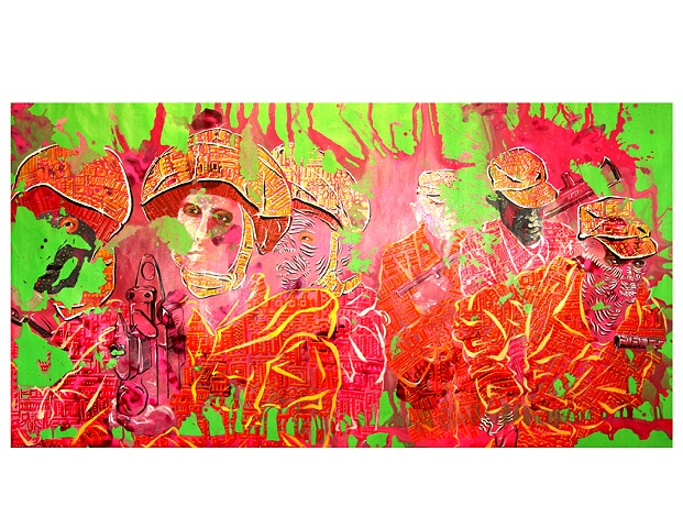 "Convulsion-W, 58 x 128"", Acrylic on Canvas, 2009"
