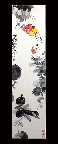 Angry Birds, Acrylic on Traditional Chinese scroll , 2011