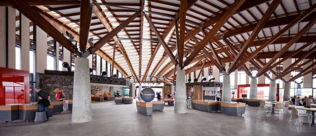 Interior of Village Centre, the visitor centre at National Arboretum Canberra