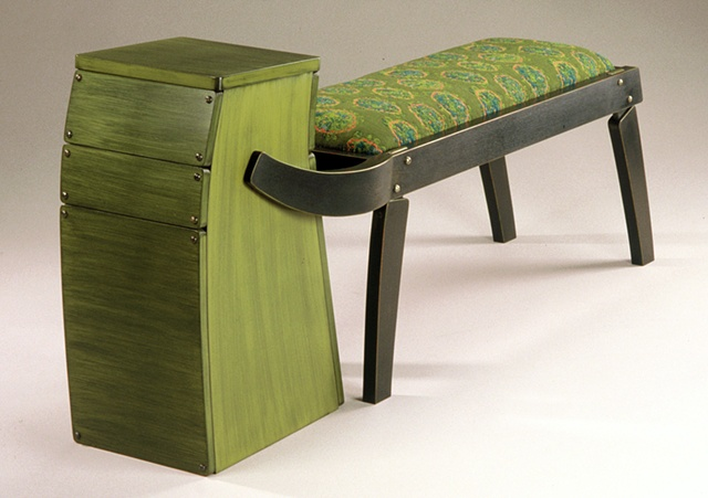 Bench and table in realtionship, mahogany and milk paint, elyse allen textiles