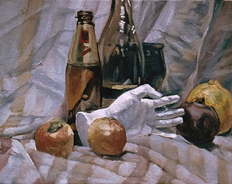 Still Life with plaster hand and fruit