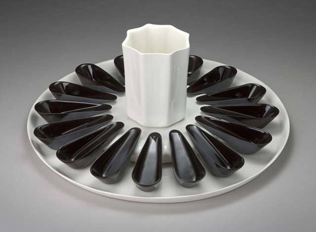 Appetizer Platter with Spoons & Vase