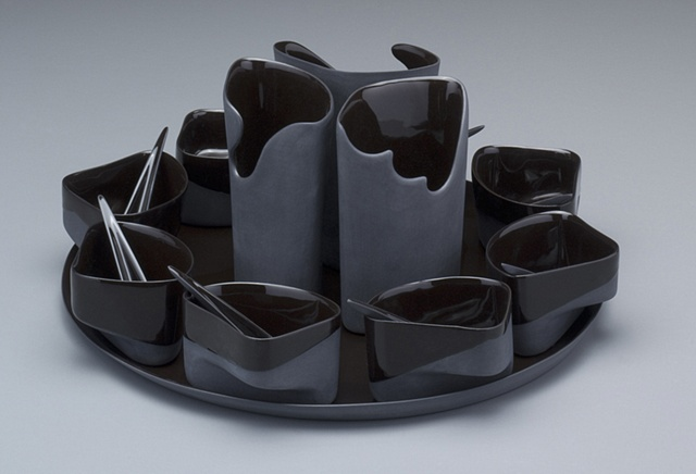 Platter with Cups, Spoons & Vases