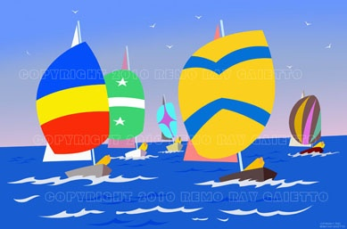 SPINNAKERS ARE NUMEROUS AROUND CAPE ANN NEW ENGLAND,  RACE BOATS, FISHING BOATS, FINE ARTS, PLEIN AIR PAINTINGS, LOBSTERS, CLAMS