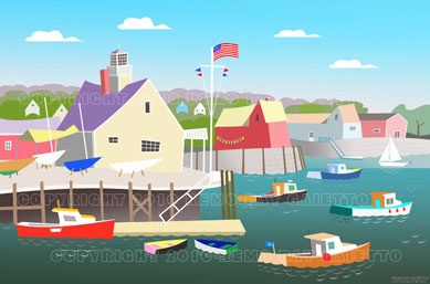 WHIMSICAL VIEW OF ROCKPORT HARBOR, FISHING BOATS, LOBSTERS, PLEIN AIRE PAINTING