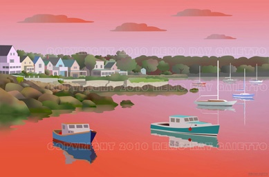 TYPICAL NEW ENGLAND SEASIDE VILLAGE COASTLINE, FISHING, PLEIN AIR PAINTING, WITCHES