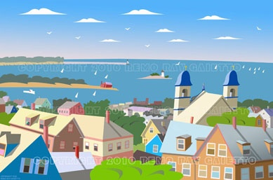 "PANORAMA OF GLOUCESTER, MASSACHUSETTS,  CAPE ANN, NEW ENGLAND LOBSTER FISHING, PLEIN AIR PAINTING, PORTUGUESE CHURCH  WITH STATUE OF ""OUR LADY OF GOOD VOYAGE"""