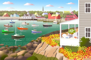 VIEW OF ROCKPORT HARBOR FROM HISTORIC BEARSKIN NECK, MASSACHUSETTS. FAMOUS MOTIF #1, THE MOST PAINTED BUILDING.  BEARSKIN NECK  IS FIRST AREA SETTLED BY PILGRIMS AND NOW A BUSY TOURISTS AREA. LOBSTERS, PLEIN AIR PAINTINGS