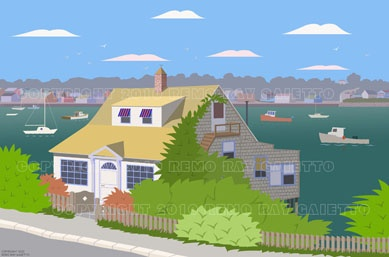SMALL COTTAGE IN HARBOR  INLET, GLOUCESTER MASSACHUSETTS,  CAPE ANN, NEW ENGLAND LOBSTER FISHING, PLEIN AIR PAINTINGS