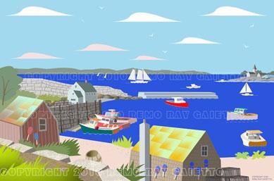 HARBOR INLET, ROCKPORT,  MASSACHUSETTS,  CAPE ANN, NEW ENGLAND LOBSTER FISHING, PLEIN AIR ART