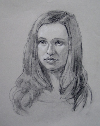 portrait in charcoal and chalk on