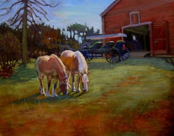 horses, carriage, barn, Wayside Inn