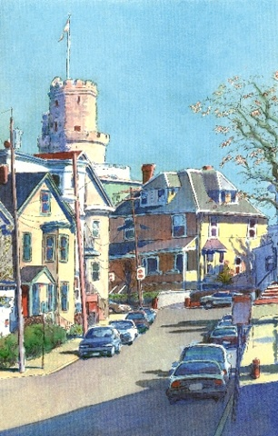 watercolor painting of Somerville MA