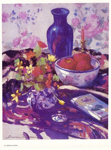 """.....continued  """"Blue Vase and Apples""""     oil   20"""" x 16""""   Mr. & Mrs. Walter Gewecke Collection"""