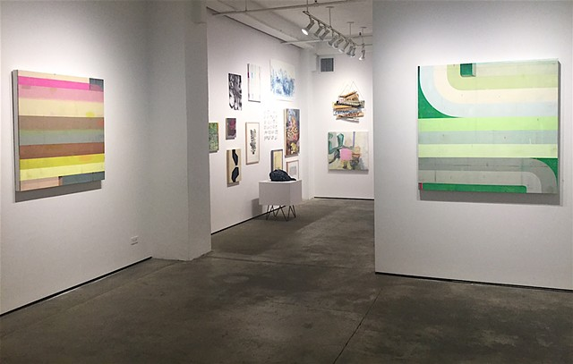 Installation view of btw, Kathryn Markel Fine Arts, NY  May 11- June 17.  Curated show STACK in rear gallery space.