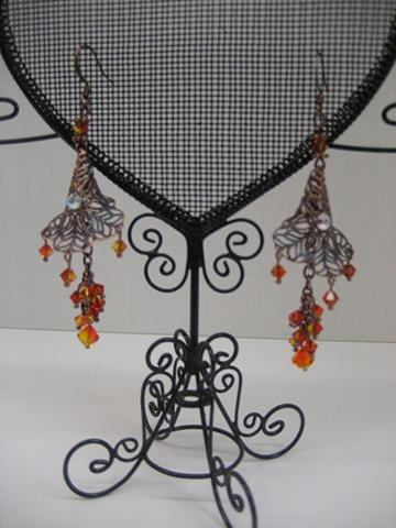 Copper Filigree Cornucopia Swarovski peach bead earrings