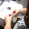 Nicole working on Peyote Bracelet
