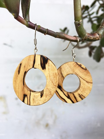 Spalted maple earrings, handmade, light, arches, small and dangling