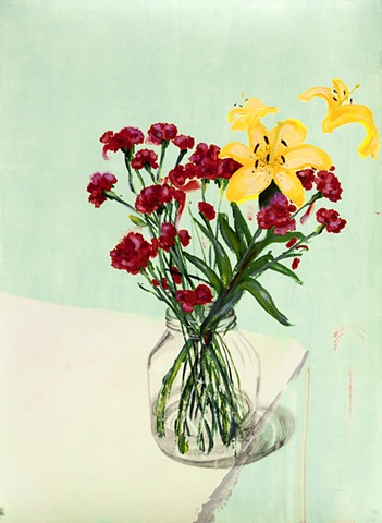carnations lilies flower paintings still life by Steve Veatch