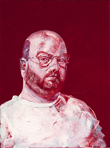 red white blue oil paint self portrait by Steve Veatch
