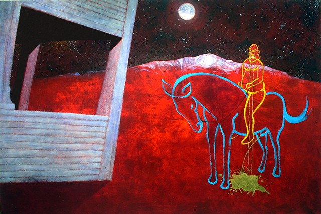 Confluence horse-Pikes Peak-moon night stars-gold leaf-gold gilding-childhood anger grief house by Steve Veatch