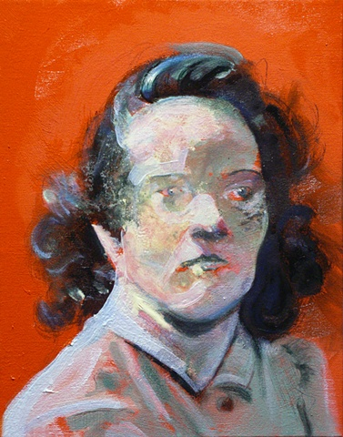 1950's movie still-orange portrait woman-water soluble oil paint-by Steve Veatch