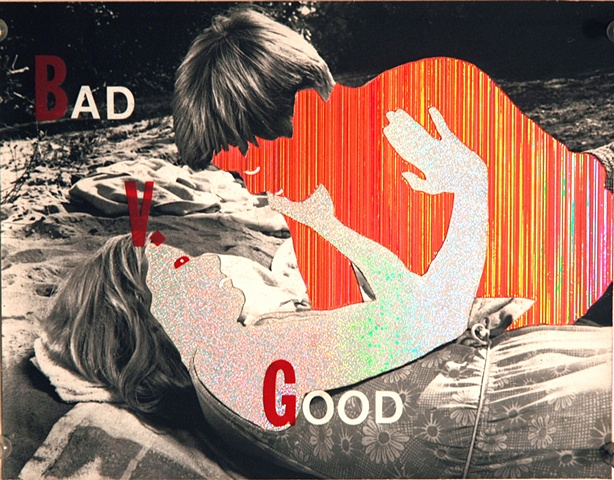 bad v good-good and evil-collage man woman beach scene rejection teenage collage man women porn blue by Steve Veatch