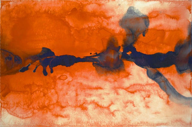 abstract landscape blue orange by Steve Veatch