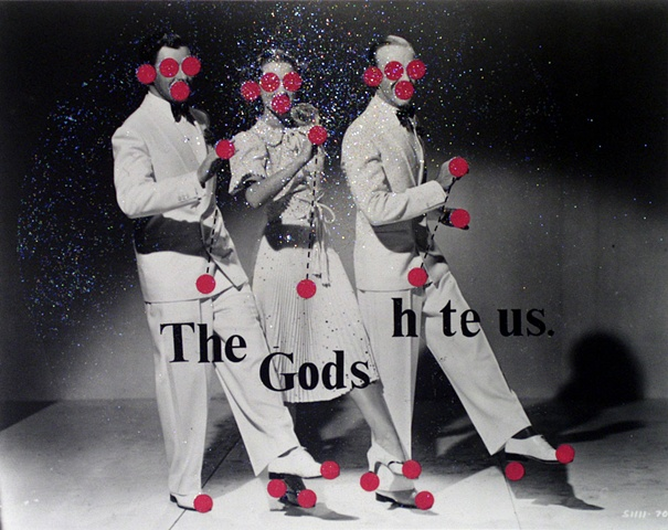 god gods collage dancing movie stills red dots glitter Hollywood by Steve Veatch