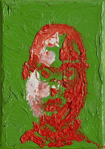 impasto red green portrait by Steve Veatch