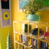 yellow roombox - detail, bookcase