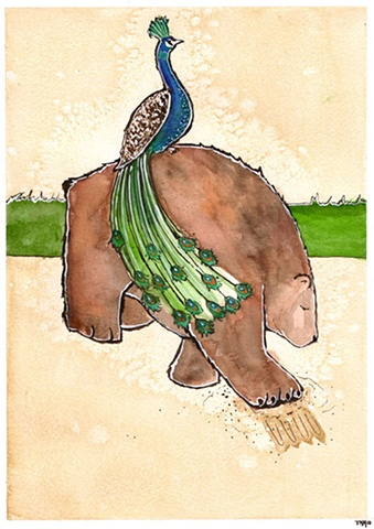 Bear and Peacock