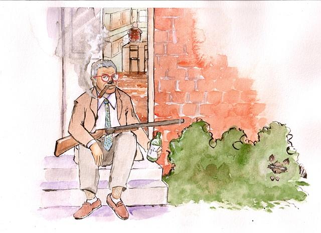 Cranky Kaplan sitting on his porch.