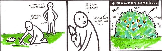 Planting eggs.