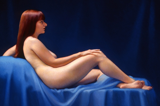 Figure With Cobalt Blue Background