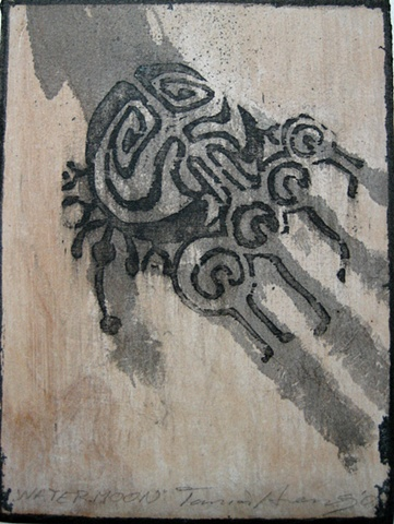 """Watermoon"" woodcut/skinprint"