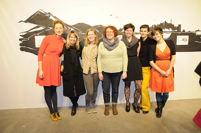 With %Urban Lake% artists  (L-R) Jessica Bonin, Francesca Lohmann, Emma Levitt, Lauren Klenow, Hannah Viano and Emily Eagle in front of Hannah Viano's work.