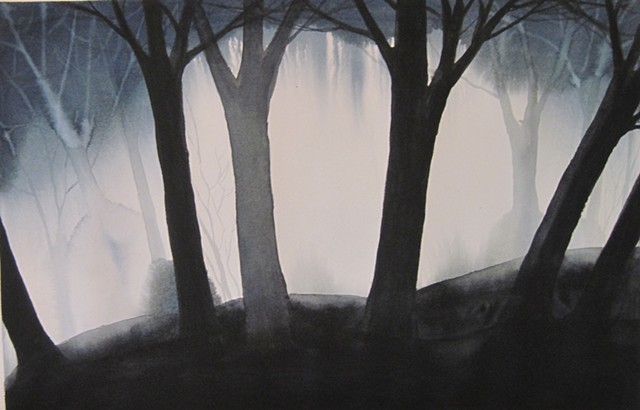 Dark Trees in Mist