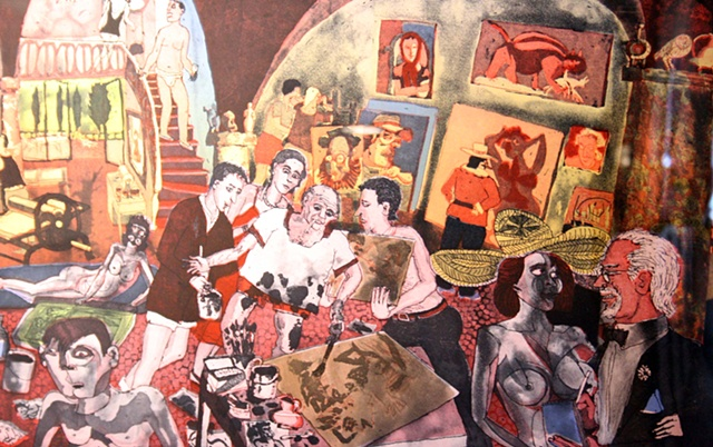 Warrington Colescott Picasso at Mougins