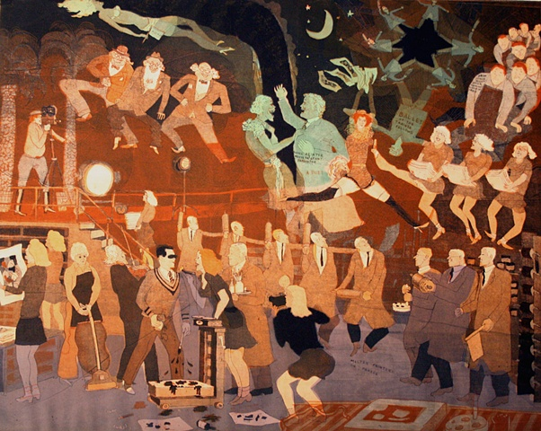 Warrington Colescott The History of Printmaking:  Rauschenburg at the Tamarind