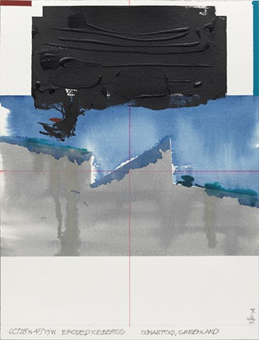 Neil Frankel 60° 28' N, 45° 19' W  Eroded Icebergs, Uunartoq, Greenland Gouache, ink, and acrylic on paper 12 x 16 inches