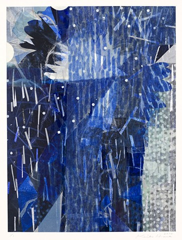 Keiko Hara Space Sukumu-Sky 10 Monotype print with collage and hand work 30 x 22 inches 2011