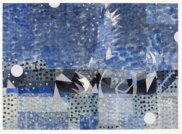 Keiko Hara Space Sukumu-Sky 16 Monotype print with collage and hand work 30 x 22 inches