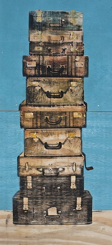 Suitcase Stack on Blue